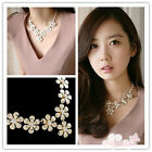 Hot Fashion New Metal Five Leaves Flower Necklace With Faux Pearl Chain 2 Color