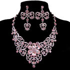 Fashion New Bridal Bridesmaid Flower Crystal Necklace Earrings Set 6Colors