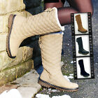 WOMENS LADIES WINTER BIKER FAUX FUR QUILTED FLAT SNOW ANKLE BOOTS SIZE UK 3-8