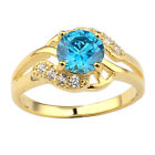 Gold Plated Sterling Silver Ring for Women Round Cut Stone Size Selectable