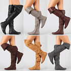 Slouchy Over the Knee Thigh High Cuff Flat Boot QUPID Proud-09