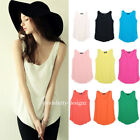 tp62 Celeb Style A-line Sleeveless Pastel Coloured Loose Chiffon Vest Tank Top