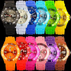 MENS WOMENS UNISEX SILICONE JELLY BEAN STYLE WITH DATE WRIST WATCH 13 COLOURS