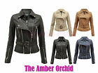 LADIES QUILTED ZIP CROPPED PVC PU FAUX LEATHER BOMBER BIKER WOMENS JACKET 8-14