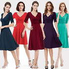 Sexy V-neck 3/4 Sleeve Womens Short Casual Winter Party Dresses 03632 Size 06-18