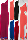 Maxi Dress One Shoulder Cut Out Long Top Stretch Slit Skirt Party Womens Ladies