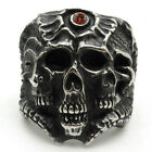 Men's 316L Stainless Steel Phoarohs of Egypt Red Crystal Silver Ring