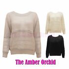 NEW LADIES PULLOVER LOOSE WOOL KNITTED WOMENS SHEER DRESS TOP JUMPER SIZES 8-14