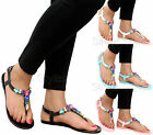 Ladies Casual Flat Sponge Summer Beach Comfy Sandals Toe Post Flip Flops Shoes