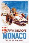 AV91 Vintage 1963 Monaco Grand Prix Motor Racing Poster Art Re-Print A1/A2/A3