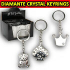 SPARKLE DIAMANTE METAL KEYRING KEY RING CHARMS CHARM HEART TEDDY BEAR CROWN GIFT