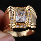 Rectangular Sim. Gem Men Yellow Gold Finish Ring Size Selectable