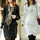New Womens Korea Long Batwing Sleeve Casual OL Round Neck Blouse Tops Mini Dress