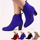 NEW WOMEN LADIES HIGH HEEL BLOCK ANKLE LOW CHELSEA BOOTS BOOTIES SHOES SIZE 3-8