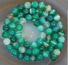 6-10mm Green Stripe Agate Onyx Gem Round Loose Bead 15''