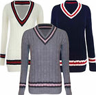 Womens Plus Size V neck Cable Knitted Long Ladies Top Cricket Jumper 16 20 22 26