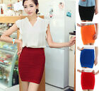 1 Women Package Hip Pleated Stretch Short Pencil Bodycon Skirt Free Size M0486
