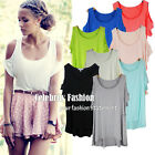 tp33 Celebrity Style Loose Fit Cotton Cut-out Shoulder Asymmetrical T-shirt Top