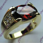 Size 7-12 Red Ruby Big Stone Ring Men's Fashion 10Kt Yellow Gold Filled Jewelry