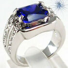 Jewelry Ring Size 8/9/10 Blue Sapphire CZ Lady/Mens White Gold Filled Engagement