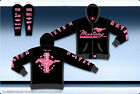 Ford Mustang Pink Ladies Hoodie Jacket Embroidered Pink Black Zip Sweatshirt