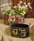 "2 PC SET METAL OVAL CONTAINERS / PLANTERS ROOSTERS & HENS LARGE 5 3/4"" X 11 3/4"""