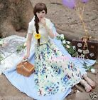 New Woman Girl Sweet Floral + Butterfly Print Chiffon Full Length Long Skirt