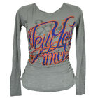 NBA Unk New York Knicks Rhinestone Scrunched See Through Longsleeve Womens Shirt