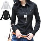 Black/White Womens Work Blouse Button Down Shirt Long Sleeve Top Size 6 4 2 0