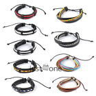 Tribal MultiWrap Punk Style Men's Cuff PU Leather Manmade Bracelet Wrist Chain
