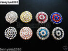 10Pcs Round Circular Crystal Rhinestones Bracelet Connector Charm Beads Pick