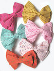 HAIR BOW CLIPS - VINTAGE STYLE SPOTTY MINT PINK MUSTARD KAWAII ROCKABILLY PASTEL