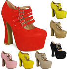 WOMENS LADIES PLATFORM HIGH HEELS ANKLE STRAP MARY JANE BUCKLES BOOTS SHOES SIZE