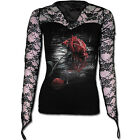Spiral Direct Red Rose Reflections Gothic Rain Drop Lace Long Sleeved Tshirt Top