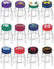 Choose NCAA K-O Team L8C1 Chrome Single-Ring Swivel Bar Stool w / 4 Cushion Seat