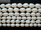 Natural Freshwater White Pearl Oval Rice Beads 15'' 6mm 7mm 8mm 9mm 10mm 11mm