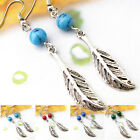 EH520 1 Pair Tiberan Silver Gemstone Turquoise Handmade Feather Tibet Earrings