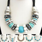 XB239 1pc Turquoise Pearl Silvered Resin Snake Chain Tibetan Necklace