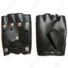 NEW MOTORCYCLE DRIVING GLOVES FINGERLESS COWHIDE RIVET LEATHER GLOVE WITH VELCRO