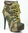 Green Camouflage Lace Up Almond Toe Platform Ankle Boot Nature Breeze JoJo-01
