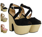 SALE WOMENS LADIES STRAP PLATFORM PEEPTOE BUCKLE CUTOUT WEDGE HEEL SHOE SIZE 3-8