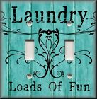 Light Switch Plate Cover - Laundry Loads Of Fun - Aqua Blue - Home Decor Room