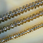 "Faceted Natural Smoky Quartz Rondelle Beads 15"" 3x6mm 4x8mm 5x10mm"