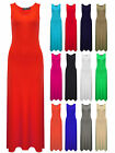 Womens Maxi Dress Black Red Navy Orange Pink Ladies Brand New Size 8 10 12 14