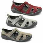 Padders SHINGLE Ladies Womens Suede Wide E Fit Sports Sandals Red/Grey/Beige New