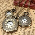 Vintage Roman Numerals Bronze Quartz Pocket Watch Pendant Necklace Chain Gift