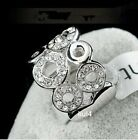 18K GP White Gold Swarovski Crystal Circle 15.5mm Width Band Ring 7/8/9 Size