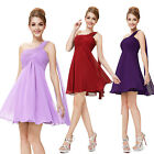 Ever Pretty One Shoulder Blue Purple Pink Chiffon Short Bridesmaid Dresses 03537