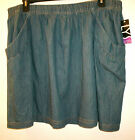 NWT Women's Sz 1X OR 2X OR 3X Elastic Waisted Denim Skirt by LYS love your style