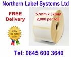 57mm x 32mm White Labels for Zebra, Citizen, Toshiba etc